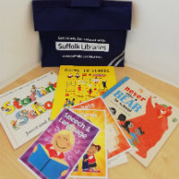 A Suffolk Libraries Get Ready for School book bag with a selection of books and information cards