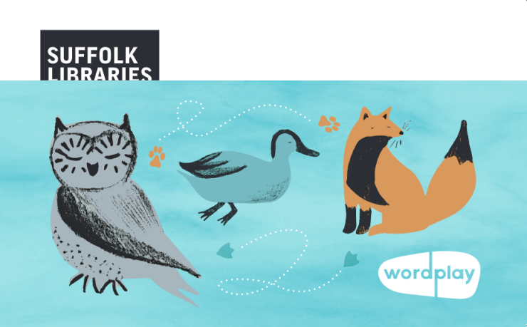 Suffolk Libraries Wordplay library card for 0-5 year-olds, featuring an owl, a duck and a fox